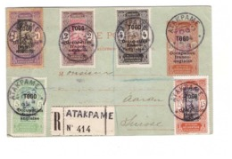 Togo 1918 Carte Pli Recommandé Entier Postal Surchargé Occupation Franco Anglaise + Timbres Départ Atakpame Pour Buchs - Togo (1914-1960)