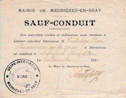 WW1 1916 - SAUF-CONDUIT Pour Un Pensionnaire De MESNIERES-en-BRAY Pour ARGENTEUIL - Documenti Storici