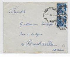 1940 - MERCURE - CACHET ROTOPLAN - ENVELOPPE PETIT FORMAT De PFAFFENHOFFEN (BAS-RHIN) => BISCHWILLER - 1921-1960: Modern Tijdperk