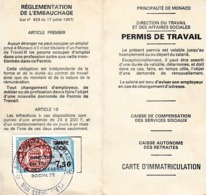 1988 - MONTE-CARLO - PERMIS DE TRAVAIL - RUELLE & Cie 15 Galerie Charles III - Documentos Históricos