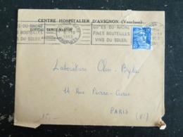 AVIGNON GARE - VAUCLUSE - FLAMME COTES DU RHONE FINES BOUTEILLES VINS DU SOLEIL - ENTETE CENTRE HOSPITALIER - Poststempel (Briefe)