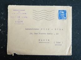 LUCON - VENDEE - FLAMME MUETTE SUR MARIANNE GANDON - ENTETE DEPARTEMENT VENDEE HOSPICE CIVIL LUCON - Poststempel (Briefe)