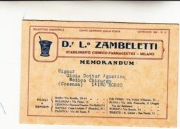 Dr. Zambelletti Stabilimenti Chimico Farmaceutici. Cartoncino Pieghevole Pubblicitario 1926 - Advertising