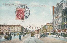 Saint Petersbourg (Russie) Perspective De Nevsky Un Jour De Fête - Circulée 1907 - Russie