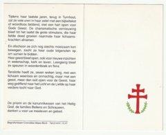 Doodsprentje Zuster Petra Joanna Bellens Kanunnikes Heilig Graf Turnhout Ekeren 1908 Turnhout 1998 - Images Religieuses
