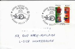 ITALIE - 2002 - Lettre Pour Le Luxembourg - Festival De L'escargot - 2001-10: Marcophilia