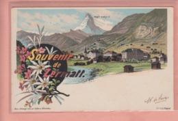 OUDE POSTKAART  - ZWITSERLAND - SCHWEIZ - SUISSE -       LITHO 1900'S - SOUVENIR DE ZERMATT - VS Wallis