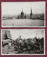 280919A - SCANDINAVIE 2 PHOTOS AMATEUR 1930 - ESTONIE TALLINN REVAL Cathédrale Marché Attelage Chevaux - Estonia