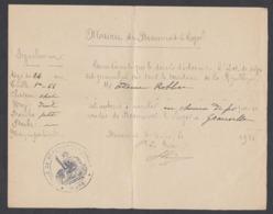 WW1 Laissez Passer Beaumont-le-Roger Eure 1914  Etat De Siège - Autorisation De Circuler En Chemin De Fer Pour Granville - Documents