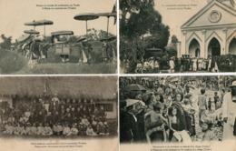 Le Tonkin. 4 CPA.  Missionnaires, Eveque, Enterrement. - Vietnam
