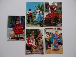 5 Cartes Postales ESPANA TIPICA Estampa Ballet Fiesta Flamenca El Relicario Couple Folklorique Folklore Costume - Danses