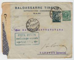 STORIA  POSTALE    LETTERA  PER  DURAZZO (ALBANIA)  VERIFICATA  PER CENSURA     (VIAGGIATA) - 1900-44 Victor Emmanuel III