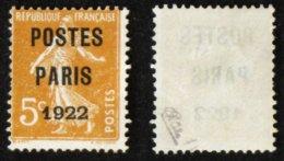 N° PREO 30 5c POSTES PARIS 1922 TB NSG Cote 20€ Signé Calves - 1893-1947