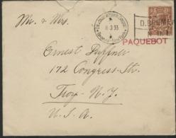 """1933. N° 141 George V + Mecanic Cancellation """"Deutsch-Amerik.Seepost * Bremen-New York"""" + Red """"PAQUEBOT"""" (AQUITANIA) - Brieven En Documenten"""