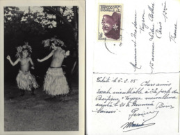 TAHITI-CARTE PHOTO-ENFANTS-DANSE-COSTUME-FOLKLORE-ETABLISSEMENT FRANCAIS DE L'OCEANIE-TIMBRE- - Tahiti