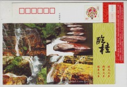 Mountain Waterfall,China 2011 Guangxi Lingui Landscape Advertising Pre-stamped Card - Holidays & Tourism