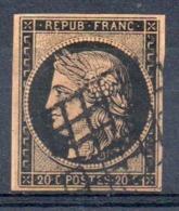 SUPERBE - YT N° 3g - Cote: 750,00 € - Noir Sur Fauve - 1849-1850 Cérès