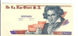 DE LA RUE GIORI S.A. VARINOTA FDS/unc PROVA DI STAMPA Beethoven Uniface Lotto.2887 - [ 2] 1946-… : Républic