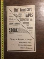 1924 PUBLICITE TAPIS MOQUETTE ETABLISSEMENTS MARCEL COUPE PARIS RUE THERESE BOURGANEUF LAVERGNE ARGENTAT - Old Paper