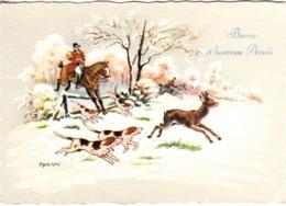 Thematiques Voeux Mini CP Bonne Et Heureuse Année Scène Chasse Faon Illustrateur Marigny - Holidays & Celebrations