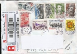 Lettre Recommandée Adressée Indonésie, Retour.  Avec Séries Timbres Europa CEPT  Andorra - Andorre Français