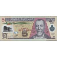 TWN - GUATEMALA 122b - 5 Quetzales 11.5.2011 Polymer - C XXXXXXXX D - Printer: CANADIAN BANK NOTE UNC - Guatemala