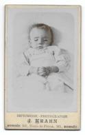 CDV Enfant Sur Son Lit De Mort Photo Post Mortem - Personnes Anonymes