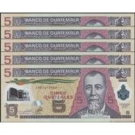 TWN - GUATEMALA 122b - 5 Quetzales 11.5.2011 Polymer - DEALERS LOT X 5 - C XXXXXXX D - Printer: CANADIAN BANK NOTE UNC - Guatemala
