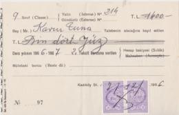 Turquie, Reçu De 1966. - Chèques & Chèques De Voyage