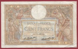 """100 Francs """"Luc Olivier Merson"""" Du 01/09/1932.AQ ---F/TTB+--ALPH Q.36652 --(12) - 1871-1952 Antiguos Francos Circulantes En El XX Siglo"""