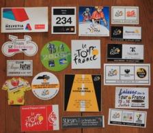 Cyclisme : Tour De France , Lot D'autocollants (18)  Concernant Le Vélo Et Le Cyclisme - Cyclisme