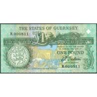 TWN - GUERNSEY 52b - 1 Pound 1996-2002 Low Serial 000XXX - Prefix R - Signature: Trestain UNC - Guernsey