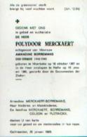 Souvenir Mortuaire MERCKAERT Polydoor (1907-1986) Geboren Te MOERBEKE Overleden Te HALLE - OUDSTRIJDER 40/45 - Devotion Images