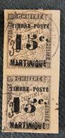 MARTINIQUE - 1891 - YT 22 - PAIRE 1 Ex Normal + 1ex 5 Penché  Les 2 Se Tenant - TAXE - Segnatasse