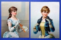 2 CHROMOS  LITHOGRAPHIES....FEMMES ÉLÉGANTES...CHÂLE...ÉVENTAIL - Autres