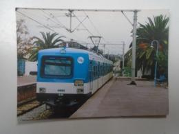 D168408 Train - Railway Station - Bahnhof  - Gare -Hungarian Postcard  -Tunisia  SNCTF -TGM -Tunis La Goulette -La Marsa - Trains