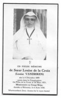 Souvenir Soeur Louise Religieuse Dcd Malmédy 1899-1938 - Esquela