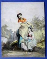 CHROMO LITHOGRAPHIE.....A LA MOISSON ...COURONNE DE FLEURS DES CHAMPS - Autres