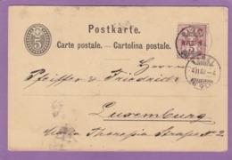 POSTKARTE VON DAVOS NACH LUXEMBURG.ANKUNFT STPL ,EINKREIS STPL.CARTE POSTAL DE DAVOS POUR LUXEMBOURG,1882. - 1882-1906 Wappen, Stehende Helvetia & UPU