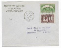 """1936 - LETTRE """"TRANSPORTE EXCEPTIONNELLEMENT PAR AVION A TITRE DE PROPAGANDE"""" D'ALGERIE => MARSEILLE - VOIR DOS ! - 1927-1959 Lettres & Documents"""