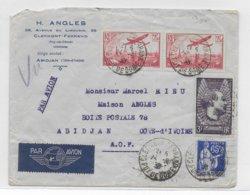 1938 - LETTRE De CLERMONT-FERRAND => ABIDJAN (COTE D'IVOIRE) - MERMOZ + POSTE AERIENNE - Poste Aérienne