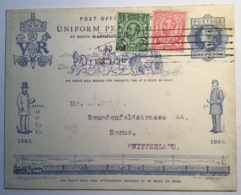 """UNIFORM PENNY POSTAGE"" 1d Q.V 1840-1890 Postal Stationery> Bern Schweiz (GB UPU Train Mail Coach Entier Cover Horses - Storia Postale"