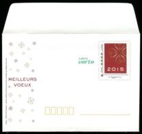 B-027D- PAP Carrés Lettre Verte - Meilleurs Voeux 2015 - Entiers Postaux