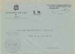 34034. Carta S.N. Franquicia Juzgado Municipal URÚS (Gerona) 1960. - 1931-Hoy: 2ª República - ... Juan Carlos I