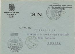 34035. Carta S.N. Franquicia Ayuntamiento AMER (Gerona) 1959. Marca Circular Juzgado - 1931-Hoy: 2ª República - ... Juan Carlos I