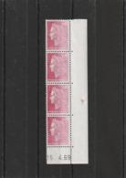 Variété France N° 1536B Marianne De Cheffer Bande 4 Coin De Feuille Impression A Sec - Curiosités: 1960-69 Neufs