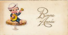 Thematiques Voeux Mini CP Bonne  Année Enfant Banjo  Cp Ecrite 1933 - New Year