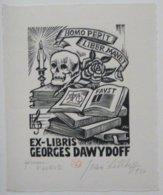 Ex-libris Illustré France XXème - GEORGES DAWYDOFF  - Livres Et Tête De Mort - Ex-Libris
