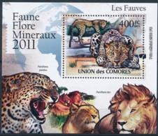 D - [39380]TB//**/Mnh-Comores 2011 - BL2166, Faune, Les Fauves, Léopard, Panthère. - Raubkatzen