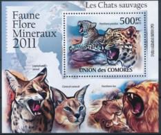 D - [39394]TB//**/Mnh-Comores 2011 - BL2148, Faune, Les Chats Sauvages, Léopard, Panthère. - Raubkatzen